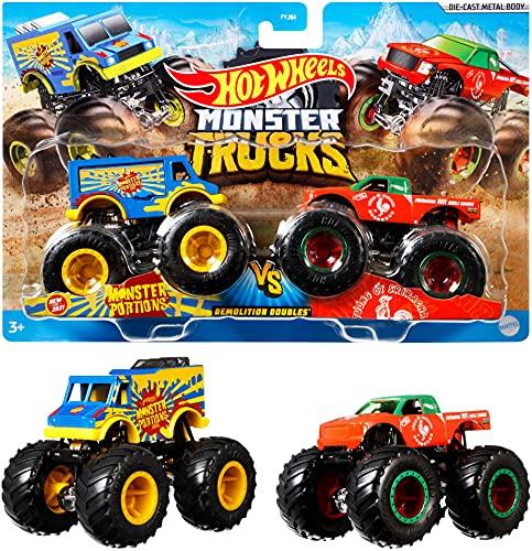 Mattel Hot Wheels FYJ64 - Modellino di Monster Truck Duos, Modelli assortiti, 1 pezzo
