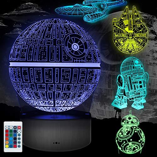 Lampada 3D Regalo Perfetto, 16 Colori Dimmerabile 3D Lamp Illusion con 5 Modelli Telecomando, Luce...