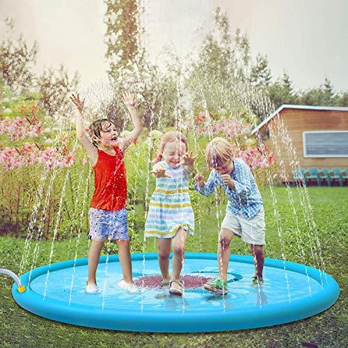 Jasonwell Tappetino Giochi d'Acqua Giardino per Bambini 170cm Giocattoli Splash Play Mat Giochi...