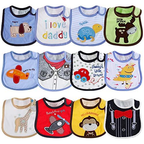Lictin 12 pezzi Bavaglino Neonato - Bavaglini impermeabili in cotone per ragazzi e ragazze 3-36 mesi