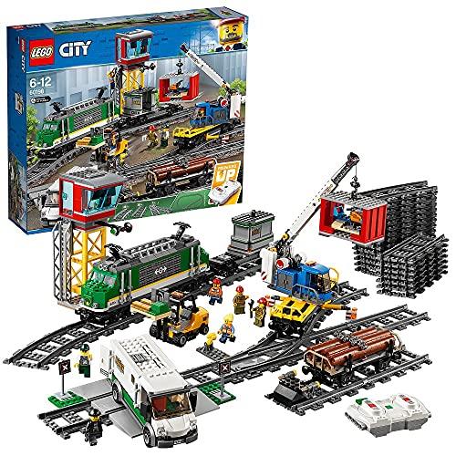 LEGO CityTrains TrenoMerci, Motore Alimentato a Batteria, per Bambini dai 6 Anni in Poi,Connessione...